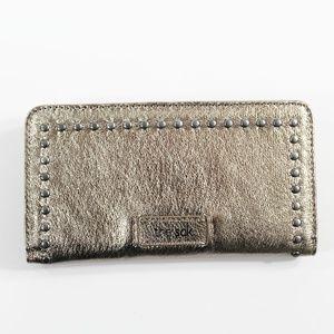 THE SAK  Iris Slim Leather Wallet Pyrite Metallic